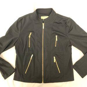 Michael Kors Gold Zipper Black Dress Jacket L